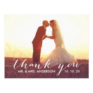 Einfache Skript-Hochzeit danken Ihnen Postkarte