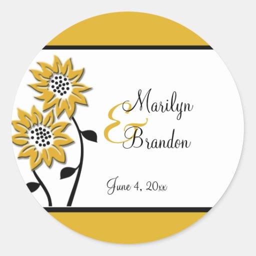 """Einfache Sonnenblumen 1,5"""" runder Hochzeits-Aufkle Runder Aufkleber"""
