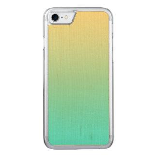Einfache Steigungs-gelber PastellTürkis Carved iPhone 8/7 Hülle