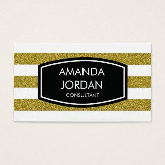 Einfache Streifen-Geschäfts-Karte - Glittergold Visitenkarte