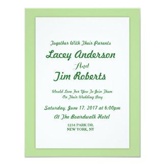 Einfache tadellose grüne 10,8 x 14 cm einladungskarte