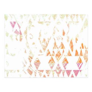 Einfache weiße Boho Dreiecke verblaßten orange Postkarte