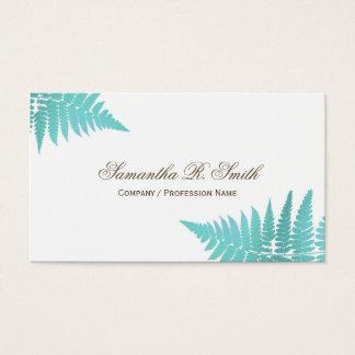 Einfacher blauer Farn-eleganter Waldentwurf Visitenkarte