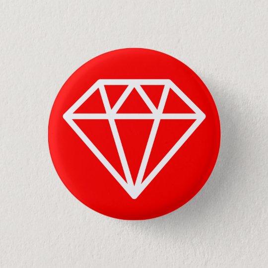 Einfacher Diamant - Weiß auf Rot Runder Button 3,2 Cm