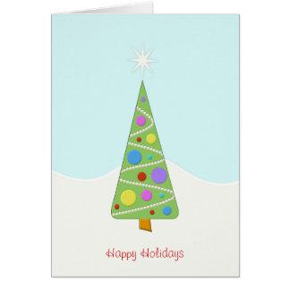 Einfacher moderner Weihnachtsbaum-glücklicher Karte