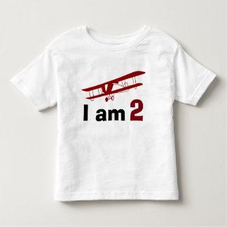 Einfacher roter Flugzeug-Geburtstag Kleinkind T-shirt