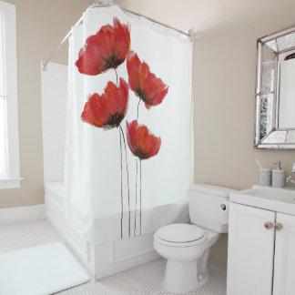 Einfacher roter Mohnblumen-Druck Duschvorhang