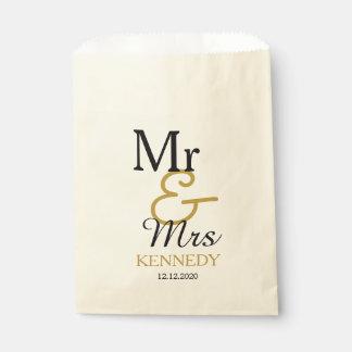 Einfacher Schwarz-und Goldherr und Frau Wedding Geschenktütchen