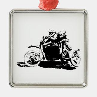 Einfacher Sidecarcross Entwurf Quadratisches Silberfarbenes Ornament