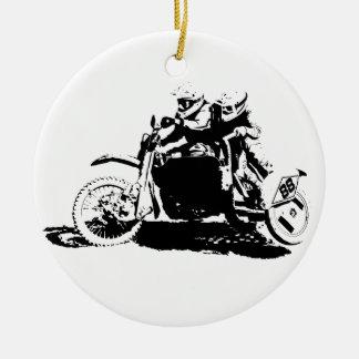 Einfacher Sidecarcross Entwurf Rundes Keramik Ornament