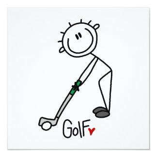 Einfacher Strichmännchen-Golfspieler Quadratische 13,3 Cm Einladungskarte