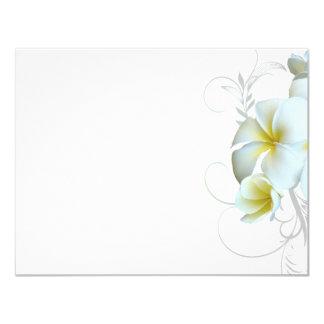 Einfacher weißer Plumeria blühen Einladungs-Papier Karte