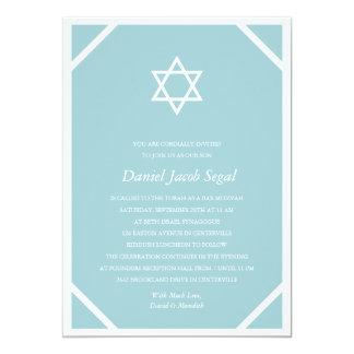 Einfaches blaues Bar Mitzvah 12,7 X 17,8 Cm Einladungskarte