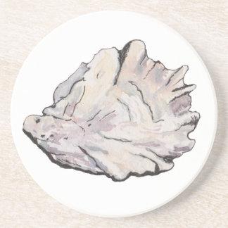 Einfaches elegantes Austern-Aquarell Sandstein Untersetzer