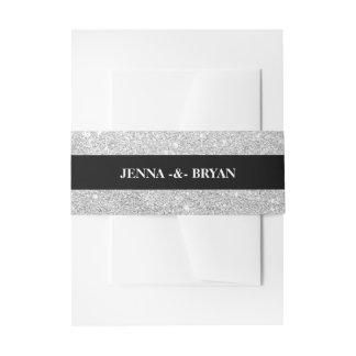 Einfaches elegantes Glitter-Silber u. schwarzes Einladungsbanderole