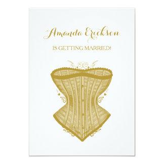 Einfaches Eleganz-Goldkorsett-Wäsche-Brautparty Karte