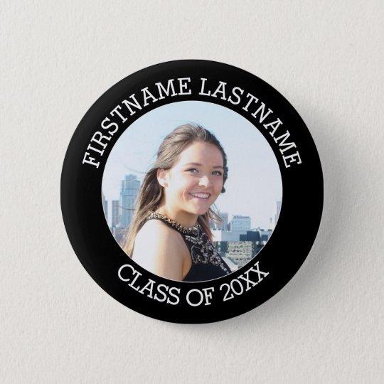 Einfaches graduiertes Foto mit Namen und Klasse Runder Button 5,7 Cm