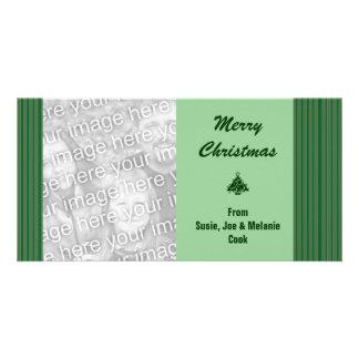 Einfaches grünes Streifen-Weihnachten Karte