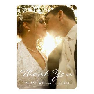 Einfaches Handschrifts-Hochzeits-Foto danken Ihnen 12,7 X 17,8 Cm Einladungskarte