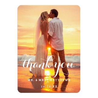 Einfaches Hochzeits-Foto danken Ihnen zu kardieren 12,7 X 17,8 Cm Einladungskarte