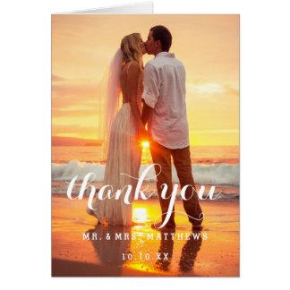 Einfaches Hochzeits-Foto danken Ihnen zu kardieren Karte