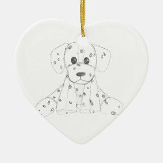 einfaches Hundegekritzel scherzt Schwarz-weißen Keramik Ornament