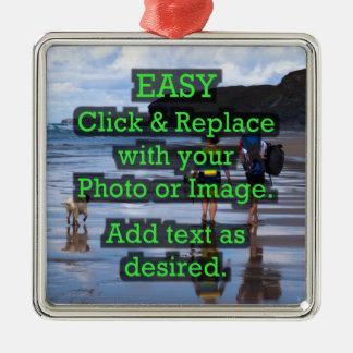 Einfaches Klicken u. ersetzt Bild, um Ihre Selbst Quadratisches Silberfarbenes Ornament