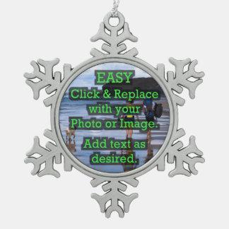 Einfaches Klicken u. ersetzt Bild, um Ihre Selbst Schneeflocken Zinn-Ornament