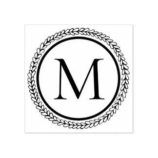 Einfaches Kranz-Monogramm Gummistempel