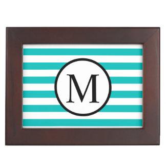 Einfaches Monogramm mit Aqua-horizontalen Streifen Erinnerungsdose