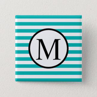 Einfaches Monogramm mit Aqua-horizontalen Streifen Quadratischer Button 5,1 Cm