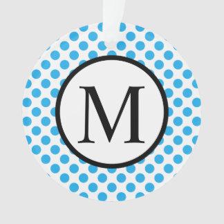 Einfaches Monogramm mit blauen Tupfen Ornament