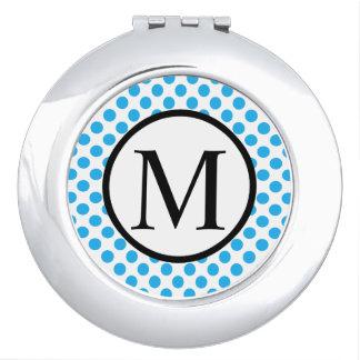 Einfaches Monogramm mit blauen Tupfen Taschenspiegel