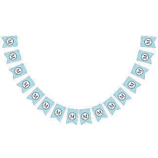 Einfaches Monogramm mit blauen Tupfen Wimpelketten
