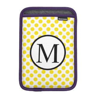 Einfaches Monogramm mit gelben Tupfen iPad Mini Sleeve