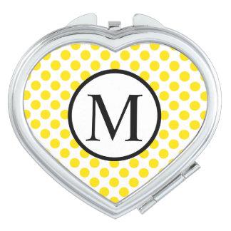Einfaches Monogramm mit gelben Tupfen Taschenspiegel