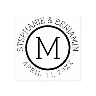 Einfaches Monogramm mit Namen-und Hochzeits-Datum Gummistempel