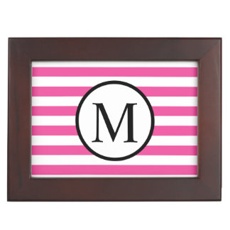 Einfaches Monogramm mit rosa horizontalen Streifen Erinnerungsdose