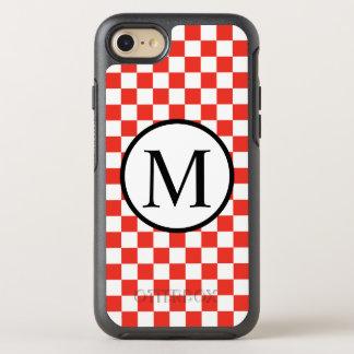 Einfaches Monogramm mit rotem Schachbrett OtterBox Symmetry iPhone 7 Hülle