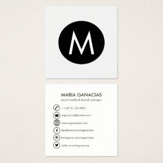 Einfaches Monogramm-Schwarzweiss-Sozialmedien Quadratische Visitenkarte