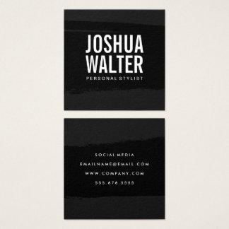 Einfaches mutiges Text-Schwarzes gebürstet Quadratische Visitenkarte