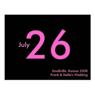 Einfaches rosa kundengerechtes Save the Date Postkarten
