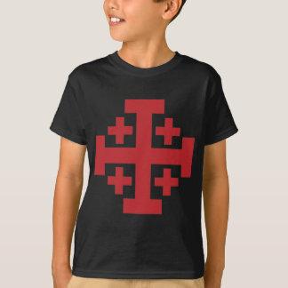 Einfaches Rot Jerusalem-Kreuzes T-Shirt