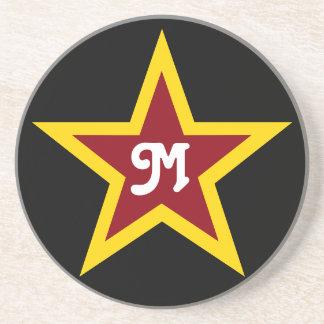 Einfaches roter u. gelber Stern-kundenspezifisches Sandstein Untersetzer