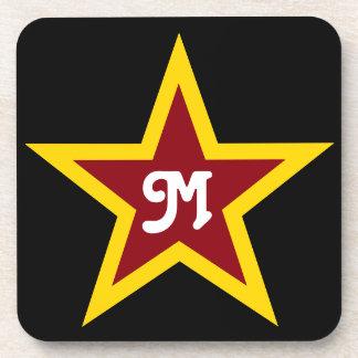 Einfaches roter u. gelber Stern-kundenspezifisches Untersetzer