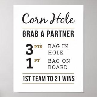 Einfaches rustikales Hochzeits-Mais-Loch ordnet Poster