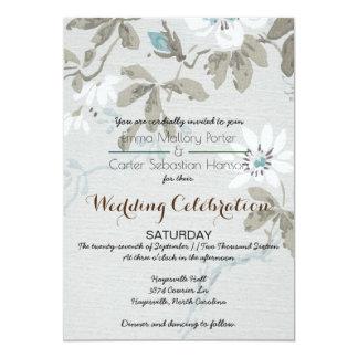 Einfaches Shabby Chic-Blumenhochzeits-Einladung Karte