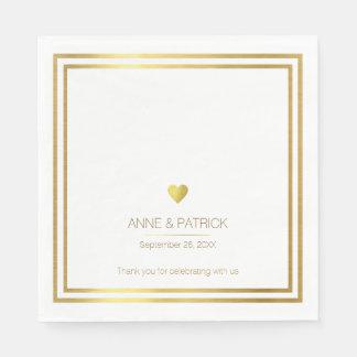 einfaches u. elegantes Imitatgold auf weißem Papierserviette