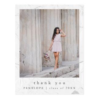 Einfaches und elegantes Abschluss-Foto danken Postkarte