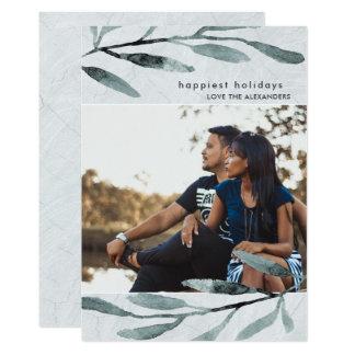 Einfaches und modernes botanisches Feiertags-Foto 12,7 X 17,8 Cm Einladungskarte